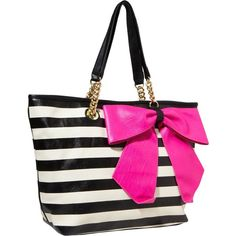 Betsey Johnson Bow Tastic Tote ($118) ❤ liked on Polyvore featuring women's fashion, bags, handbags, tote bags, purses, accessories, black pink, totes, man bag and black purse