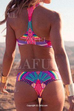 Round Neck Colorful Print Bikini Set
