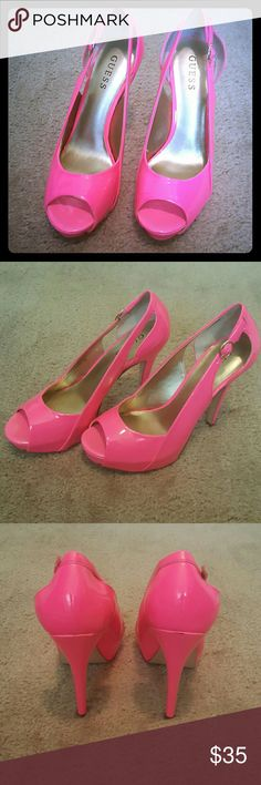 Guess platform high heels Worn once, very small scuff Mark on the back of the right heel (seen in last picture). Neon pink Guess Shoes Platforms