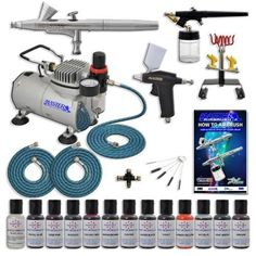 Master Pro Airbrush Cake Decorating Set with 12 AmeriMist Airbrush Cake color set that are FDA approved - 3 Airbrush Kit - TC20 Compressor - Air Filter/Regulator - 3-6' Air Hose -Multi-Airbrush Holder - Master G25 Gravity Feed Dual Action Master Airbrushes and Master G70 and E91 Suction Master Feed Airbrushes and a (FREE) How to Airbrush Instructional Guidebook and (FREE) Additional Pearlescent Sheen Color by Master Airbrush, http://www.amazon.ca/dp/B009YO6NJU/ref=cm_sw_r_pi_dp_MYTwsb0XTZM88