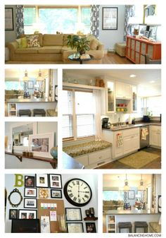 Living Room, Dining Room and Kitchen house tour. Full of DIY ideas.