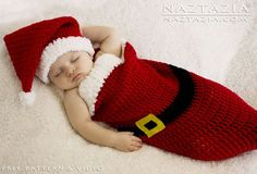 DIY Free Pattern and Tutorial for Easy Crochet Baby Santa Hat and%Cocoon Bunting with YouTube Video by Naztazia