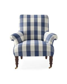 Avignon Chair in Navy Cotton Gingham Fabric via Serena & Lily