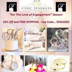 For the Love of Engagement Season we have put together an amazing offer!   10% discount plus free shipping on all items.    Offer expires at the end of the month.  Use promo code: Engaged16 Monogram Cake Toppers, Wedding Accessories, Sparkle, Coding, Seasons, Engagement, Free Shipping, Amazing, Handmade
