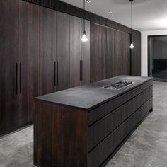 Dark wood cabinets, concrete floors, and slate counters 😍