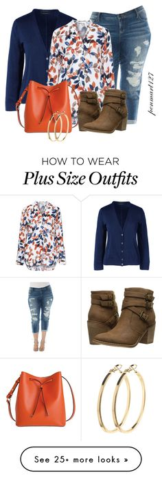 """Fall #Plussize"" by penny-martin on Polyvore featuring Slink Jeans, Lands' End, Eterna, Lodis, Rocket Dog, Pieces and plus size clothing"