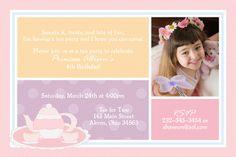 Tea Party Photo Birthday Invitation