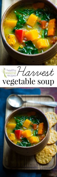 Healthy home-made soup recipe with all sorts of yummy harvest veggies including butternut squash and kale. Paleo, vegan and gluten-free.