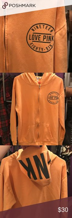 VS PINK orange full zip Size small but runs big could fit m/lg worn a handful of times but still has lots of life! PINK Victoria's Secret Jackets & Coats