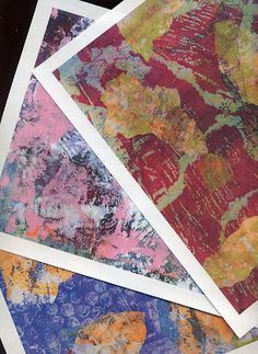 More Gelli Art Fun - Part 1  I am having SO much fun creating one of a kind papers with my Gelli Plate! They make fabulous backgrounds for my mixed media, collage and art journaling projects.