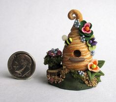 Handmade Miniature - BLOSSOM BEE HIVE FAIRY COTTAGE HOUSE - by C. Rohal #CRohal