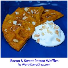 Leftovers never have to be boring. Turn leftover bacon and sweet potato hash into waffles.