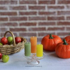 Autumn candles #miniature #fimo #polymerclay #oneinchscale #dollhouse #candles #autumn #handmade