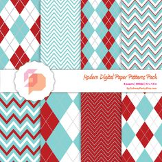 Christmas Digital Papers Pack in Chevron and Argyle Pattern. Aqua Blue, Dark Red & Silver. Scrapbooking DIY Kit: 8 x 12x12in JPG Download.. $3.00, via Etsy.
