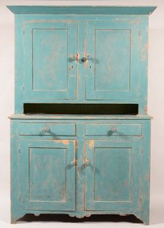 Maryland 19th Century Softwood Two Part Step-back Blind Door Cupboard with Old Blue Paint