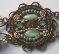 Bracelet, Gypsy, Mosaic, Tribal inpired, Green, Turquoise - A little busy for my tastes, but over all I really like it!