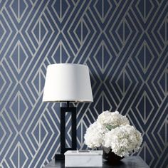Blue and White Flower Bedroom Wallpaper - Bedroom : Home Decorating Ideas Blue And Grey Living Room Wallpaper, Geometric Wallpaper Living Room, Grey Wallpaper Living Room, White And Silver Wallpaper, White And Silver Bedroom, Wallpaper Design For Bedroom, Geometric Wallpaper Design, Navy Living Rooms, Navy Wallpaper