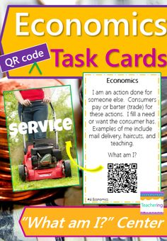 Support your Economics lesson with this fun, self-checking QR code game! Interactive center includes vocabulary practice surrounding Georgia's 4th grade Social Studies standards. Each QR code links to a vivid, labeled photograph example of the vocabulary word. Great support for ELLs and visual learners! Economics vocab included: consumer economics goods needs opportunity cost producer service specialize voluntary exchange #teachering