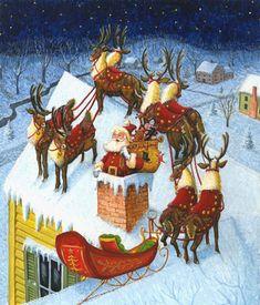 30+ Santa on the roof ideas   vintage christmas, christmas images, vintage  christmas cards