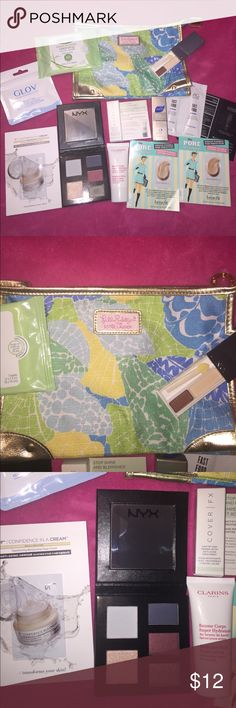 Makeup Bundle with Bag! Various samples I've collected in the past few months. NYX eyeshadow palette was only swatched to see color. Clarins lotion was only tested to see what scent it had. Makeup bag is brand new condition never used...Lily Pulitzer for Estée Lauder. Get this great bundle for an amazing price! NYX Makeup