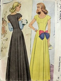McCall 5560, (c) 1944. Misses' Evening Dress | Vintage Patterns Wikia