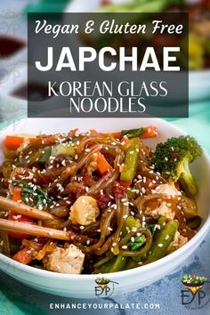 These Vegan Japchae Korean Glass Noodles, makes a hearty meal option when combined with vegetables and tofu. Whipping them in Instant pot is quick and easy. These Japchae noodles are loaded with tons of flavors. Every bite of these luscious, and chewy texture noodles make you want to have more. You will instantly become a fan of this Japchae recipe, which takes very little effort to bring together. #VeganRecipes #VegetarianRecipes #GlutenFree #Japchae #KoreanRecipe #GlassNoodles…