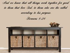 Romans 828 Bible Verse Wall Decal Bible by INSPIRATIONWALLSIGNS, $20.00