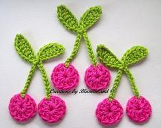 Cherries Crochet Applique.