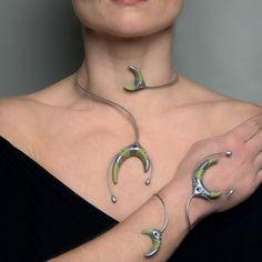 Heiroglyph neck and arm combination. £25.00, via Etsy. by Dominic Elvin, futuristic art, cyberpunk jewelry, futuristic jewelry