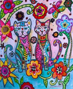 Trademark Fine Art 'Talavera Cats' Canvas Art by Prisarts, Size: 24 x Pink Artist Canvas, Canvas Art, Canvas Prints, Mexican Folk Art, Art Reproductions, Fine Art America, Whimsical, Art Pieces, Artwork