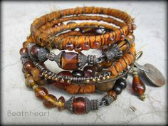 Not for Ophelia Tribal gypsy bangle stack bracelets by beatnheart. sold