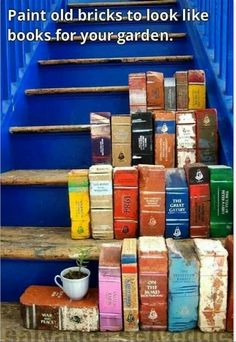 Paint old bricks to look like books for the garden
