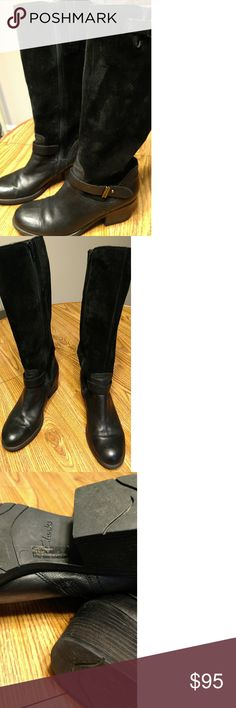 Clarks womens suede and leather black boots sz 10 Clark's black leather and suede boots size 10 excellent condition, purchased at Nordstrom for $280  worn maybe a dozen times, had back surgery can't wear anymore :-( Clarks Shoes Over the Knee Boots
