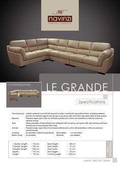 le grande Sofa, Couch, Polyurethane Foam, Hardwood, Contemporary, Fabric, Furniture, Home Decor, Tejido