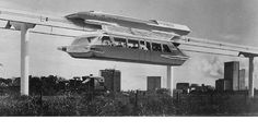 Proposed Goodell Monorail Courtesy Los Angeles County Metropolitan Transportation Authority Research Library and Archive. On Display at the Architecture and Design Museum, Los Angeles. Future Transportation, City Of Angels, Los Angeles County, Futuristic Design, World's Fair, Design Museum, Retro Futurism, Abandoned Places, Cool Pictures