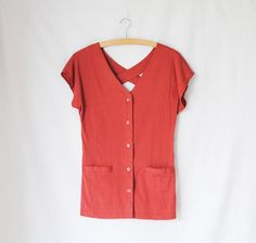 Vintage Blouse // Button Up Shirt // Short Sleeves // Cross Back Blouse with Pockets