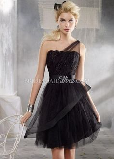 black tulle one shoulder short bridesmaid dress with lace bodice....just maybe in a different color