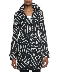 Printed Silk Trench Coat, Black/White by Burberry London at Neiman Marcus.