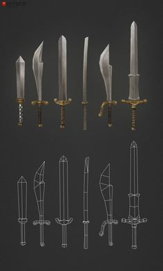 low poly swords