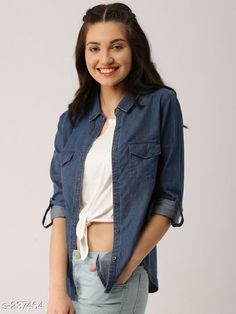 Shirts Trendy Designer Denim Shirts For Women  *Fabric* Denim   *Sleeves* Sleeves are Included   *Size* S - 36 in, M - 38 in, L - 40 in, XL - 42 in   *Length* Up To 28 in   *Type* Stitched   *Description* It Has 1 Piece Of Shirt   *Pattern * Solid  *Sizes Available* S, M, L, XL *   Catalog Rating: ★4 (527)  Catalog Name: Free Mask Trendyfrog Classy Denim Shirts Vol 12 CatalogID_24438 C79-SC1022 Code: 443-237464-