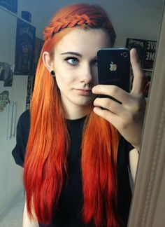 Orange hair-I thought if I dyed it then I would go with blue or purple, but this is defo changing my mind.