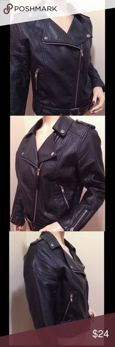 H & M Leather look Biker Jacket sz 10 H & M faux leather biker style jacket in great condition. Looks real. Sz 10 H&M Jackets & Coats