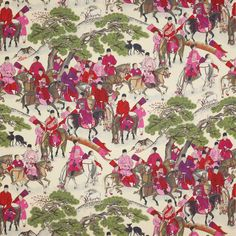 Les Cavaliers Lin Fabric - Cowtan Design Library