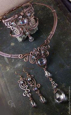 "Handmade wire necklace, bracelet and earrings.""Magic Dream""."