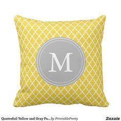 Quatrefoil Yellow and Gray Pattern Monogram