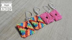 In this easy Macrame tutorial I'll show you How to Make Earrings with Easy and Simple Macrame Pattern. Macrame Earrings Tutorial, Crochet Earrings Pattern, Macrame Tutorial, Earring Tutorial, Bracelet Tutorial, Diy Tutorial, How To Make Earrings, Diy Earrings, Earrings Handmade