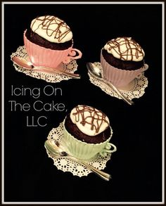 Teacup Cupcakes!  Cup is chocolate & includes buttercream filled chocolate cupcake! www.facebook.com/icingonthecake1