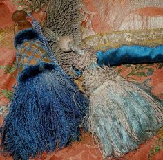 French silk tassels, left is 18th century with chipped gilt header, the right 17th century