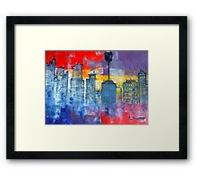 Sydney Cityscape Framed Print.  Created using watercolors and ink.  Looks great with its beautiful bold colors.