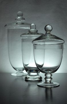 "Set of 3 Glass Apothecary Jars Clear Glass (10-3/8"" - 8""  - 7-1/2"" tall)  $19.99 @ Save-on-crafts.com"